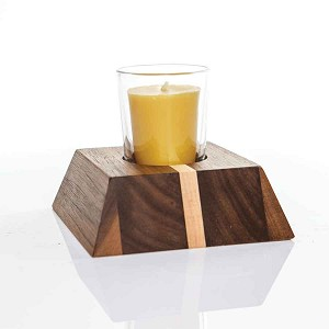 Votive Walnut & Maple Candle Holder