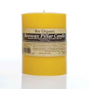 "Medium Organic Beeswax Pillar Candle 3"" x 4"""