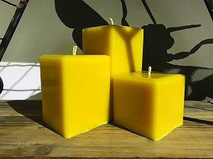 "Small Square Organic Beeswax Pillar Candle 3"" x 3"" x  3"""