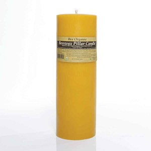 "Made w/ Organic Beeswax Pillar Candle Small 3"" x 9"""