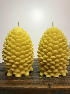 Pinecone Set Organic Beeswax Candles