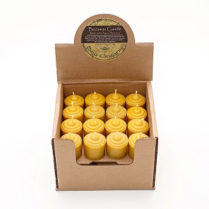 Made w/ Organic Beeswax Votive Candles Display Box of 32